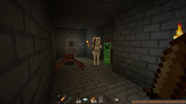 Esqueletos, creepers y arañas del texture pack Prime 1.8