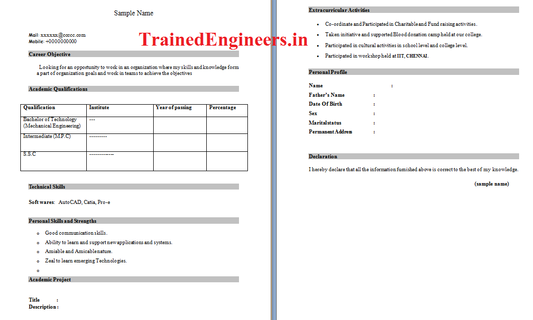 Resumes Format For Trainee Engineers | Mechanical Jobs : Steel