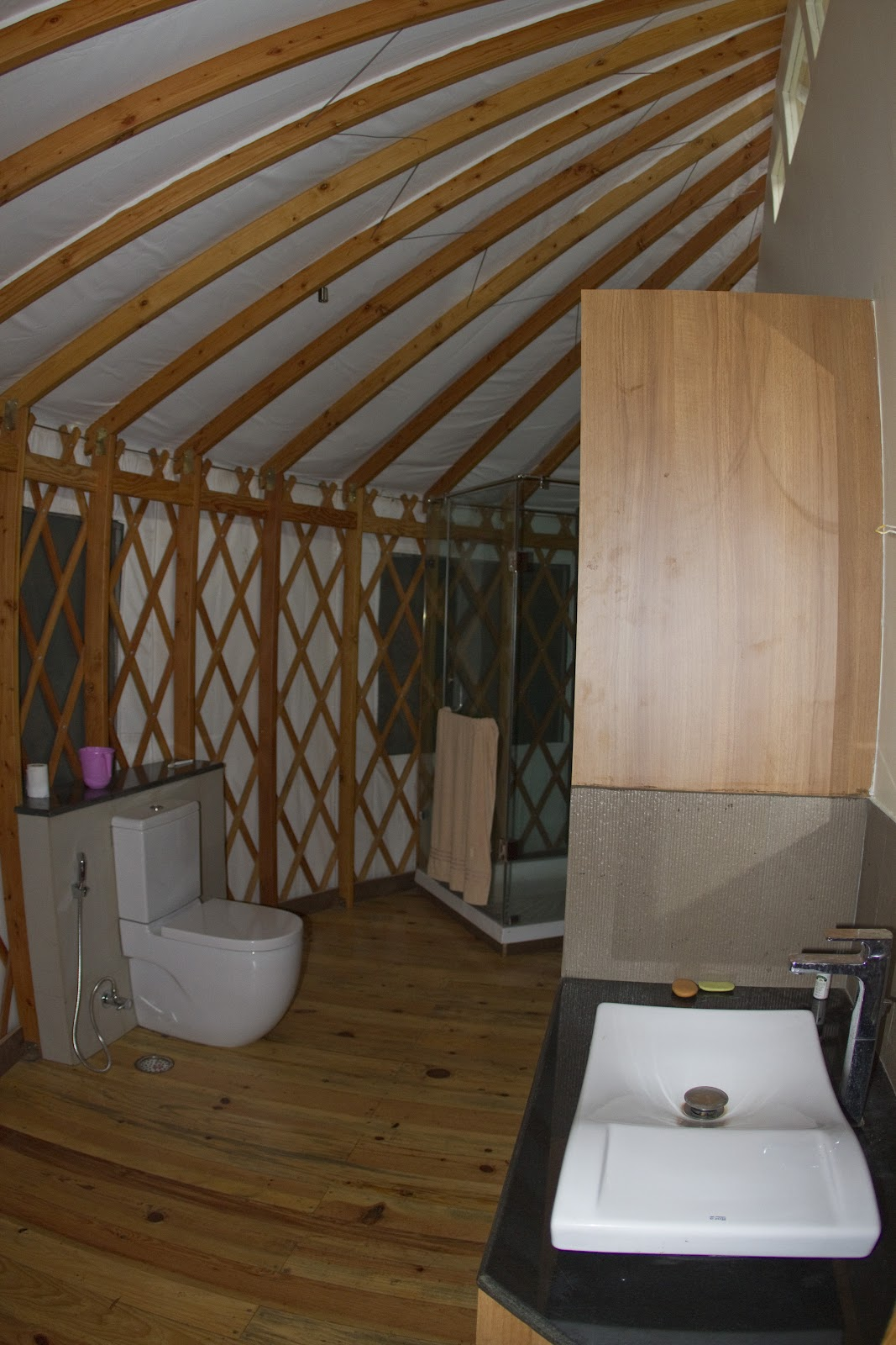 Our satori yurt interiors for Yurt bathroom designs