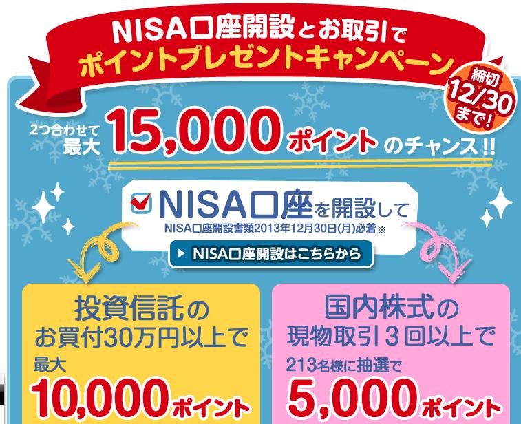 楽天証券でのNISA口座開設キャンペーン