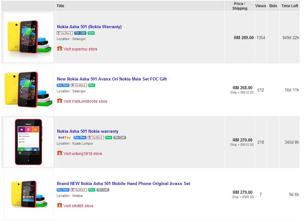 nokia asha 501 mula dijual di lelong my notes