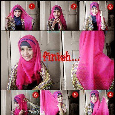 Cara memakai model jilbab pashmina untuk wajah bulat