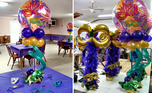 Madri Gras Balloon Centerpiece
