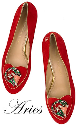 Charlotte Olympia Aries Suede Flats Cosmic Collection
