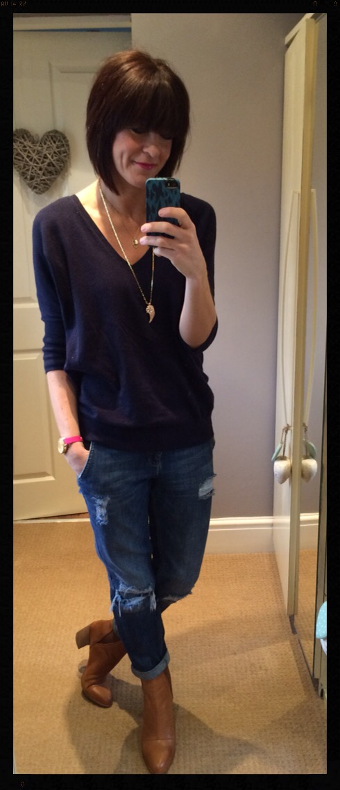 My Midlife Fashion, Distressed Denim, Boyfriend Jeans, Zara, Gap, Stella and Dot