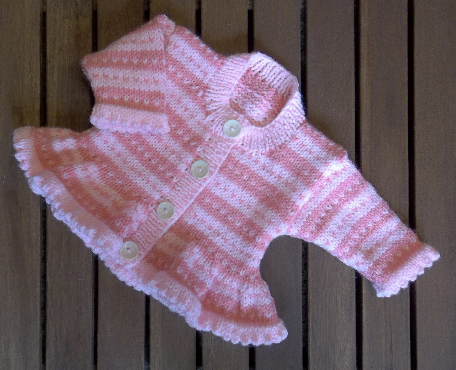 Hand Knitting Patterns For Babies : Baby Girl Pink Stripe Fair Isle Cardigan. Hand Knitting Pattern