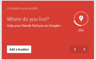 location on Google+ profile