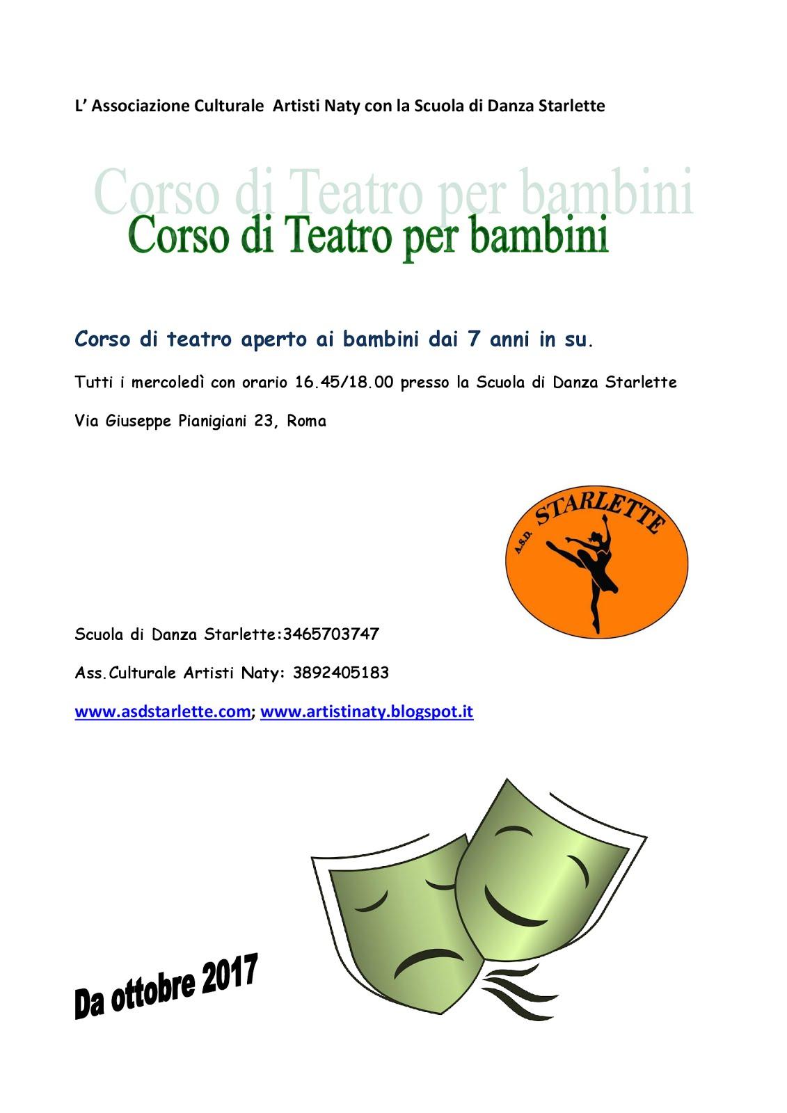 CORSO DI TEATRO PER I BAMBINI DAI 7 ANNI IN SU, ROMA