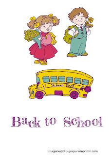 estudiantes y autobus escolar El colegio para imprimir