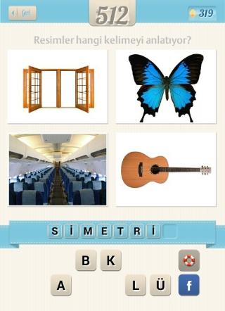 Resimli+Kelime+bulmaca+çözümü pencere kelebek uçak gitar cevabı