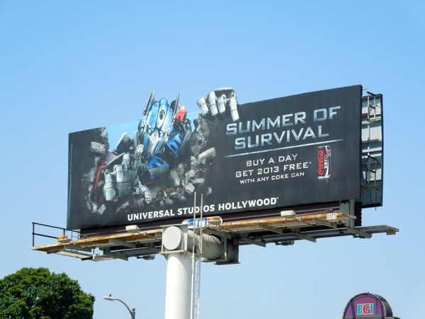 Transformers Universal Studios Coke can promotion billboard