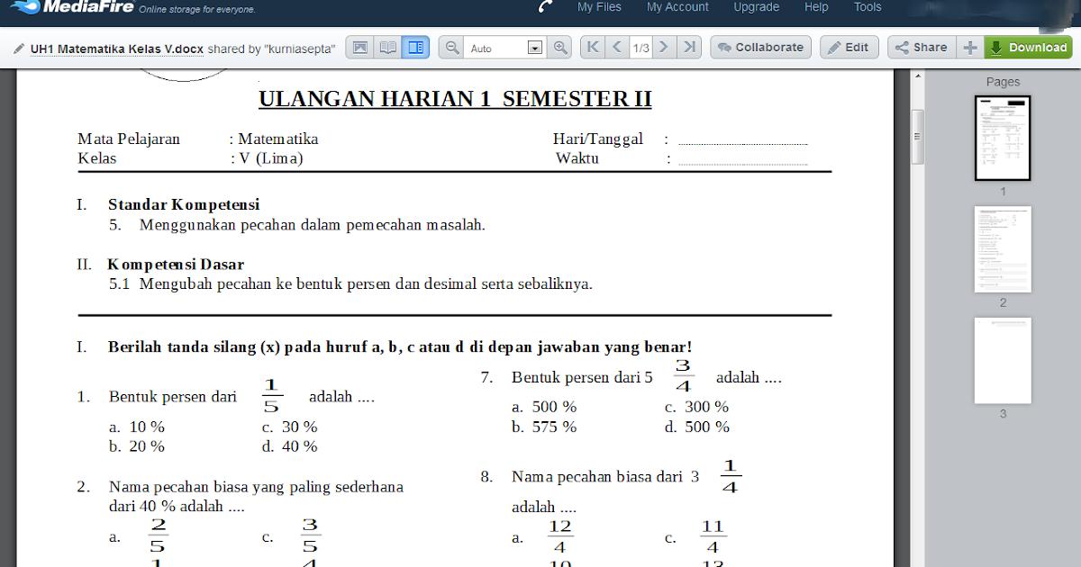Download Soal Matematika Kelas 5 Semester 2