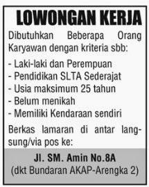 Lowongan Kerja Riau sebagai Karyawan