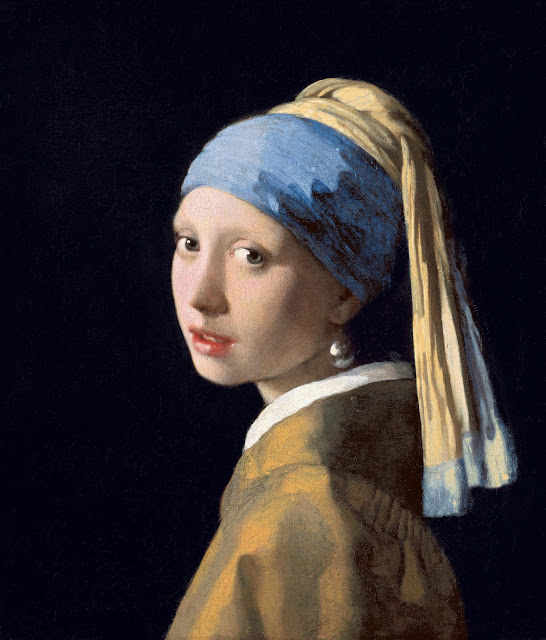 Girl with a Pearl Earring by Johannes Vermeer (circa 1665) is a painting of a young girl, wearing a pearl earring, looking at the viewer over her left shoulder. She wears a colorful scar around her heard, and her mouth is slightly open.