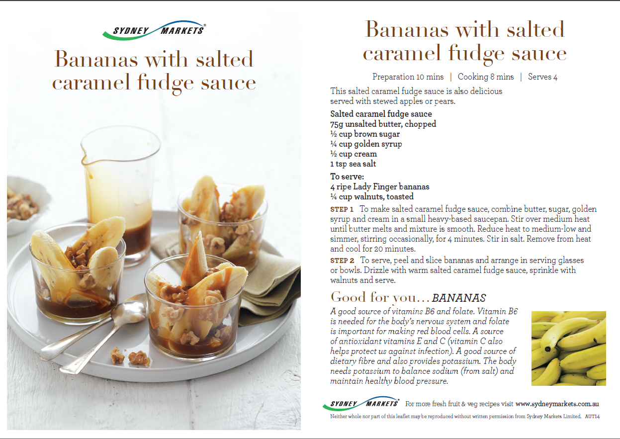 Bananas with salted caramel fudge sauce