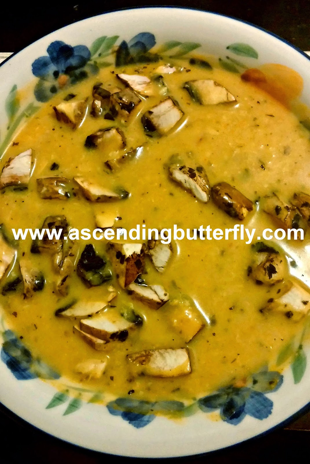 hearty seafood bisque with organic mushrooms