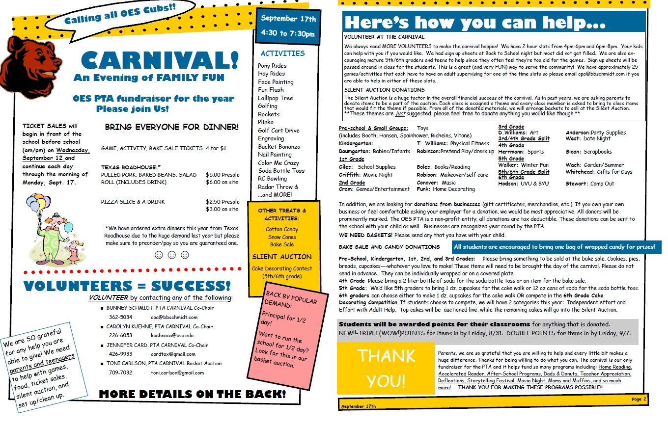 orem elementary pta september newsletter and carnival info