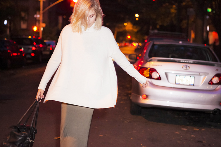 Fashion Over Reason, Ann Taylor oversized knit, Brooklyn New York, nighttime shoot, messy bob
