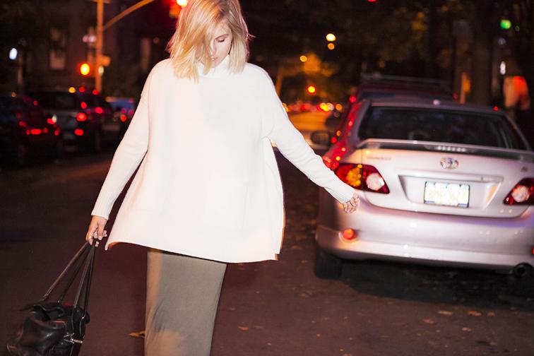 Fashion Over Reason, Ann Taylor oversized knit, Brooklyn New York, nighttime shoot, messy bob