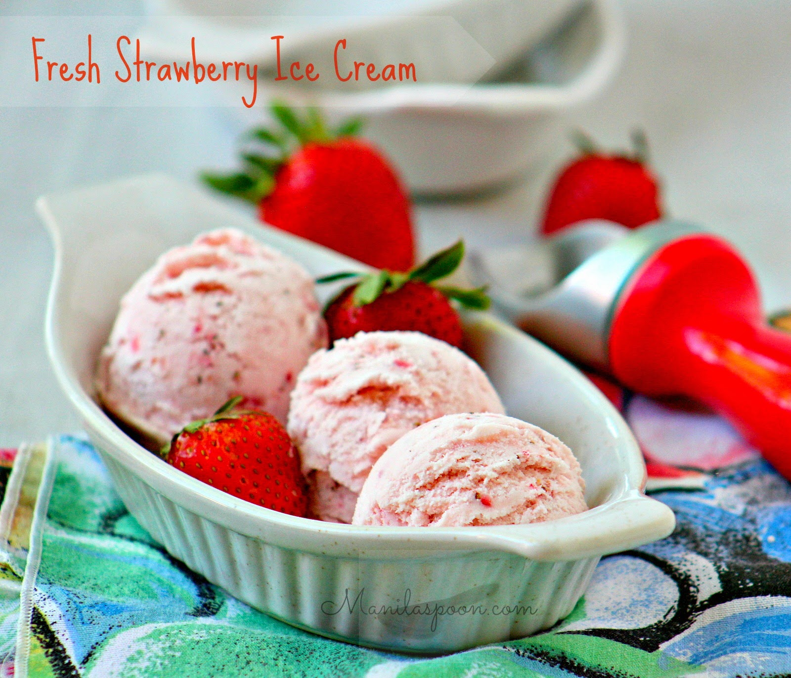 Fresh Strawberry Ice Cream. So easy to make and no need to use an ice ...