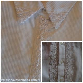 """""""Camisa-branca-cuatomizada-com-renda"""" www.alinhavosdemoda.com.br"""