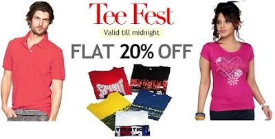 HomeShop18 TEE-Fest : Flat 20% Off on Men's / Women's T-Shirts (Deal Valid till Today)