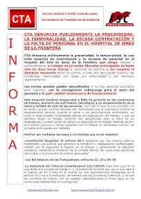 CTA DENUNCIA PUBLICAMENTE LA PRECARIEDAD, LA TEMPORALIDAD, LA ESCASA CONTRATACIÓN Y LA FALTA DE PER