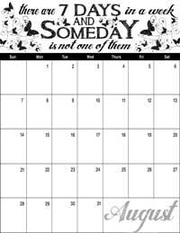 August 2016 Inspirational Calendar