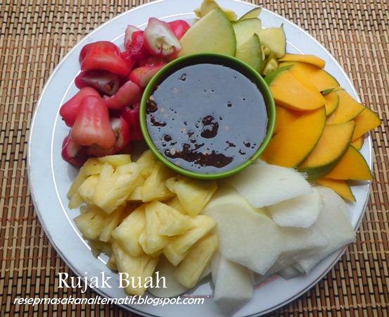 resep rujak buah bumbu sambal kacang pedas resep masakan