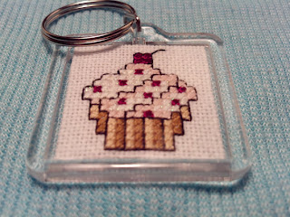 Cross-Stitched Sparkly Pink Cupcake Keychain