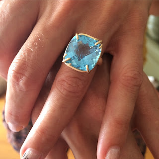 blue topaz and gold custom power ring by ali amaro