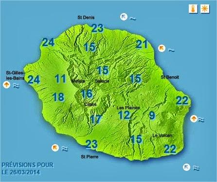 Prévisions  température Météo Réunion pour le Mercredi 26/03/14