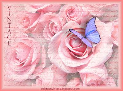 fondo vintage con ramo de rosas y letras