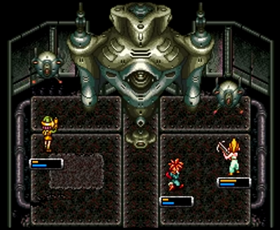Crono, Marle, and Lucca battle the Guardian beneath Arris Dome in 2300 AD