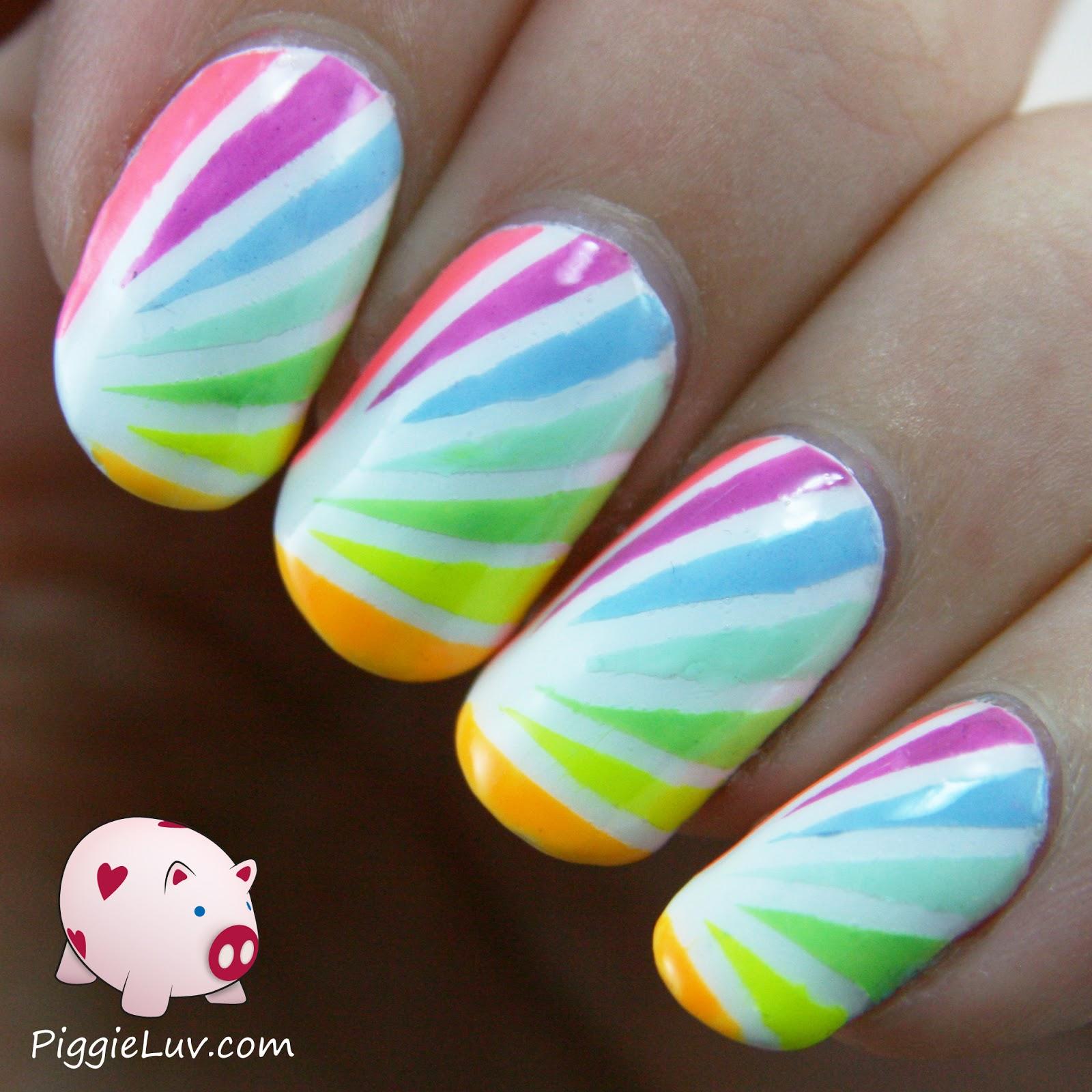 PiggieLuv: Neon rainbow tape mani