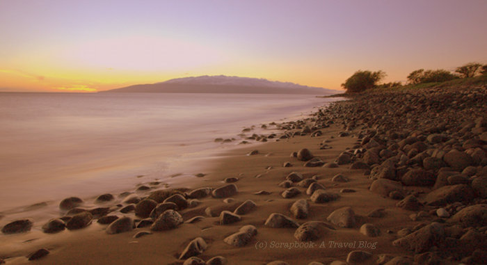 Sunset Lahaina Maui Hawaii black sand beach