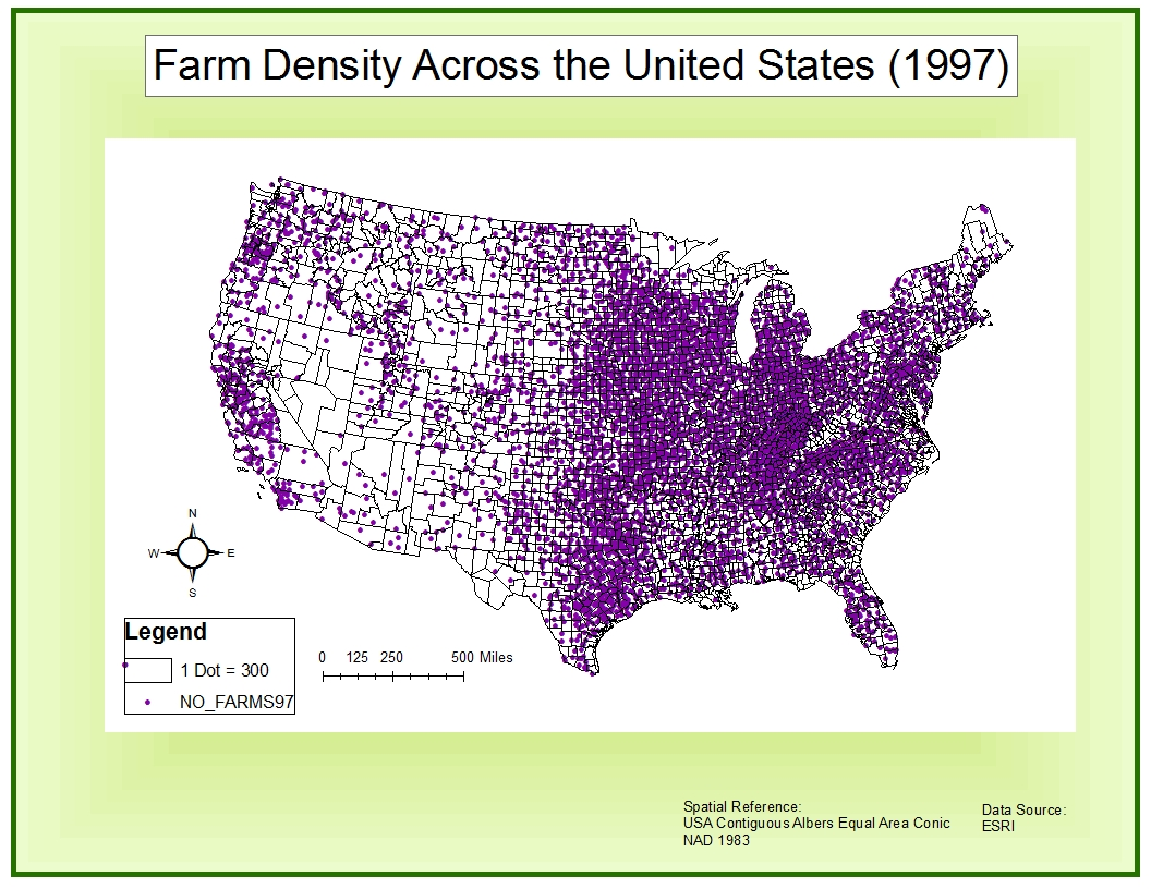 a dot density map uses groups of dots to quantitatively represent a given phenomenon or feature the more dots there are in an area on the map