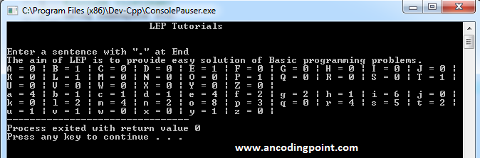 Use ASCII values to count number of character in C++