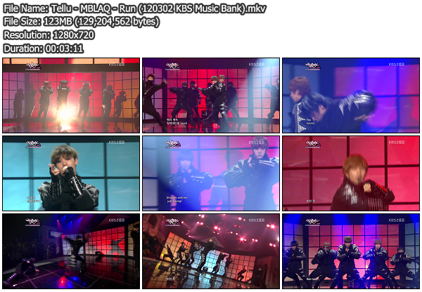 [Perf] MBLAQ   Run @ KBS Music Bank 120302