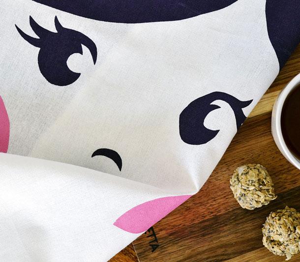 Sweet Babushka Tea Towel Plum