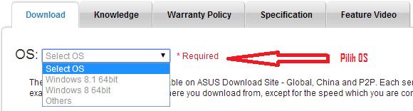 Pilih OS Driver ASUS