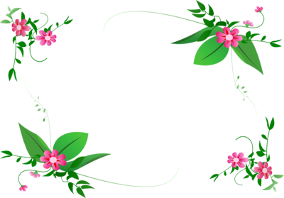 Green Flower Border Design Png
