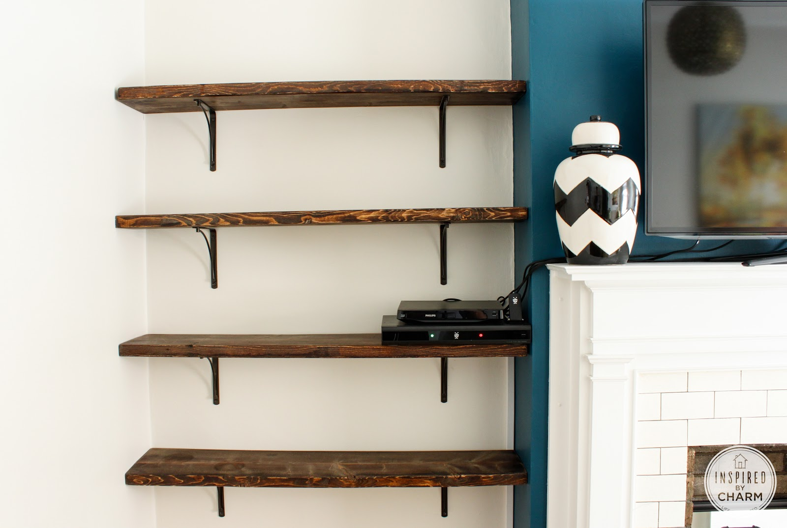 for the love of color bookcase styling - Simple Shapes Wall Design