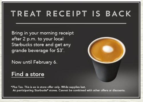 Starbucks Treat Receipt $3 Grande Beverage With Morning Receipt