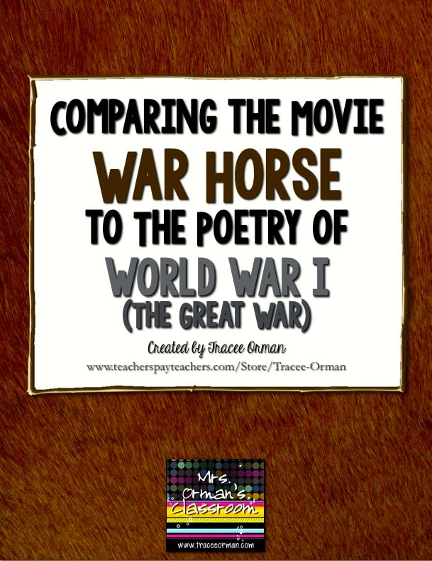"Compare ""War Horse"" to the poetry of WWI http://www.teacherspayteachers.com/Product/War-Horse-Movie-and-World-War-I-Poetry-Common-Core-Activities-1136376"