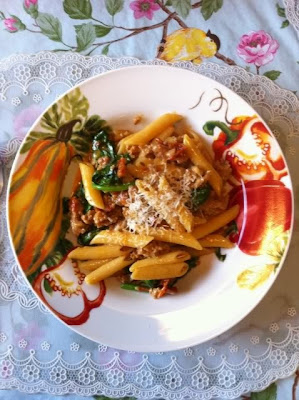 penne, sausage, skillet, veggies, dinner, recipe