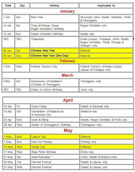 Kalendar cuti Sekolah & Cuti Am 2017