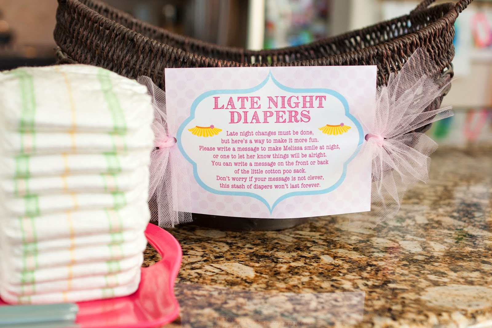 The sweatman family tutu thrilled baby shower details for Baby shower diaper decoration game
