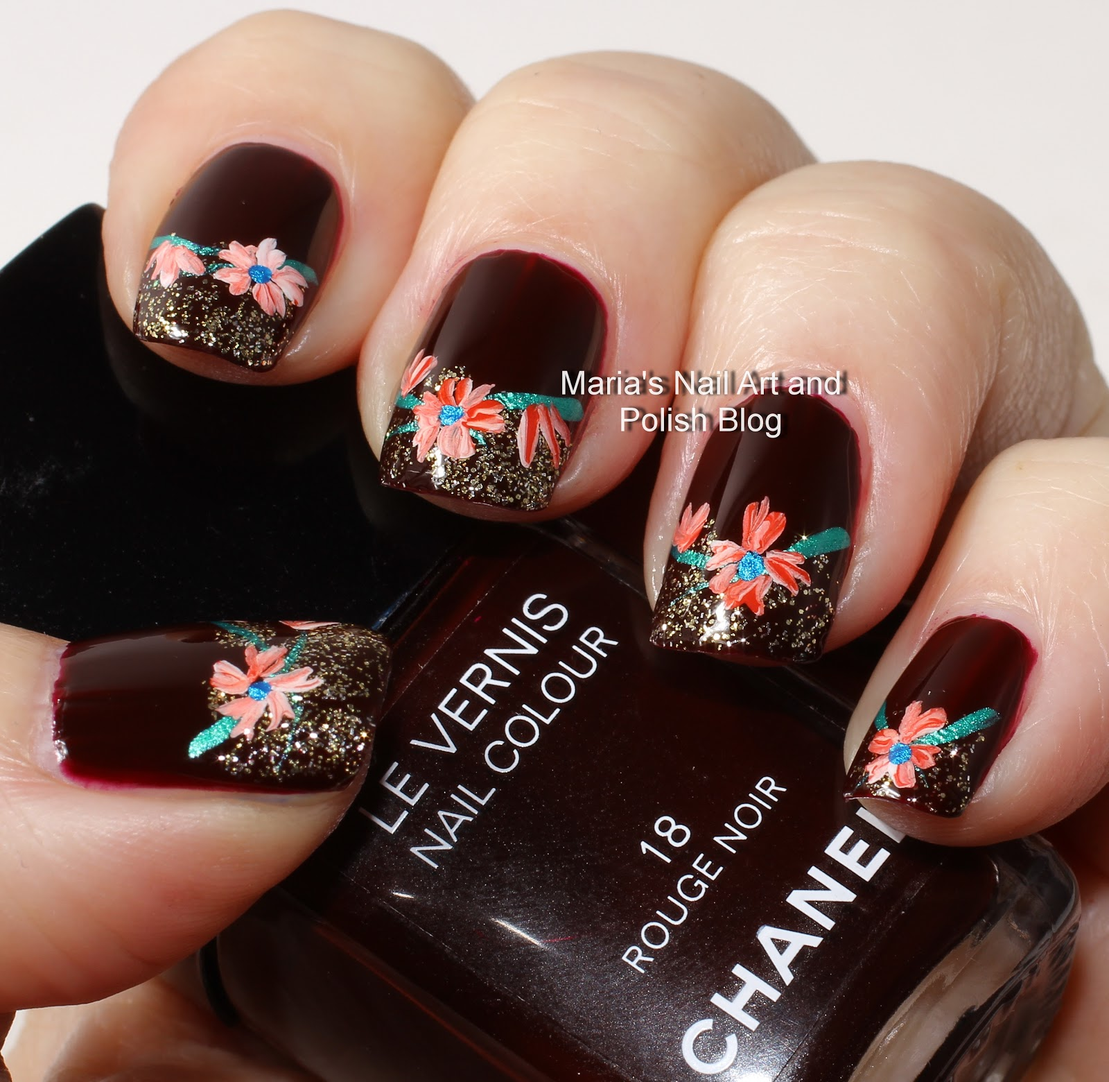 Marias Nail Art And Polish Blog Subtle Floral Nail Art On: Marias Nail Art And Polish Blog: Rouge Noir With Flowers