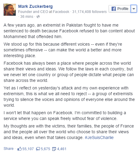 Mark Zuckerberg JeSuisCharlie‬